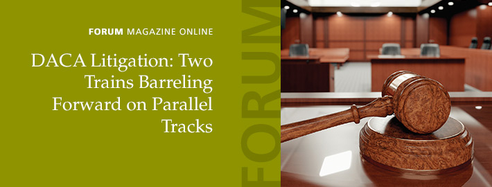 FORUM: DACA Litigation: Two Trains Barreling Forward on Parallel Tracks