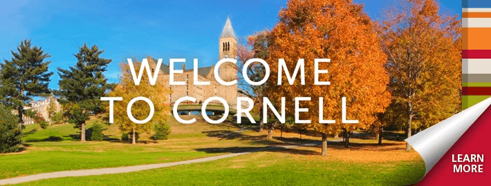 Cornell campus in Fall, with the copy Welcome to Cornell